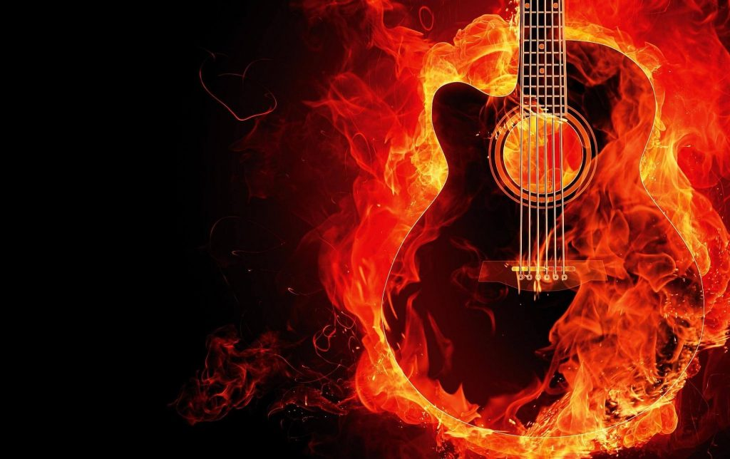 A flaming guitar - The rock star experience is part of personalised service in hotels.